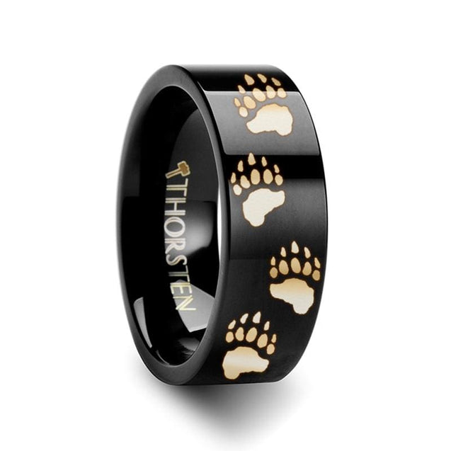 Animal Track Bear Paw Print Engraved Black Flat Tungsten Carbide Ring - 4mm - 12mm