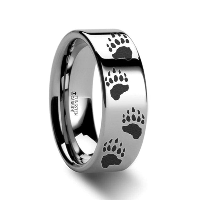 Animal Track Bear Paw Print Engraved Pipe Cut Tungsten Carbide Ring - 4mm - 12mm