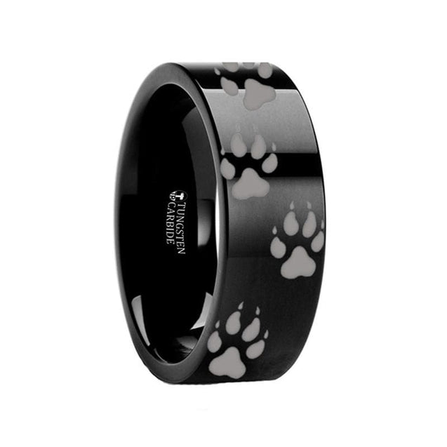 Animal Track Wolf Print Engraved Pipe Cut Black Tungsten Carbide Ring - 4mm - 12mm