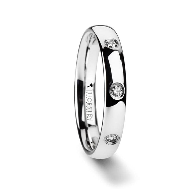 Anna Women's Tungsten Wedding Band Domed White with 3 Diamonds - 4 mm