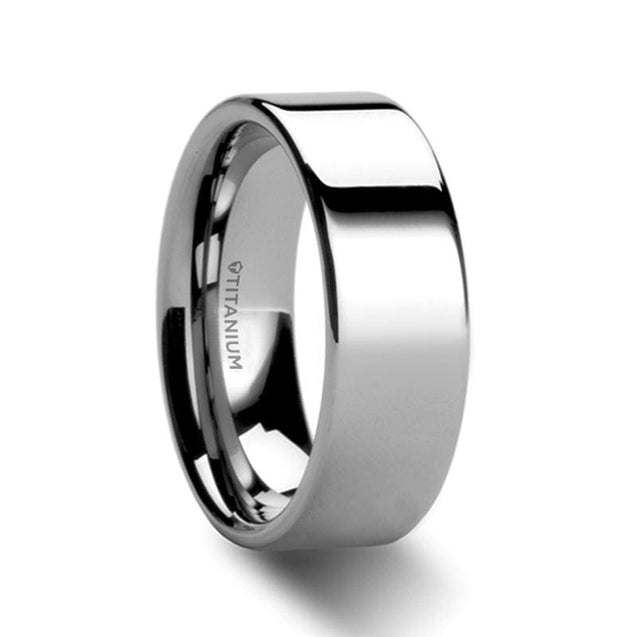 ASHTON Flat Style Polished Titanium Men's Wedding Ring - 6mm & 8mm