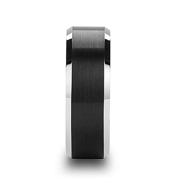 Atticus Men's Titanium Wedding Band Brushed Black Center & Polish Beveled Edges -8mm