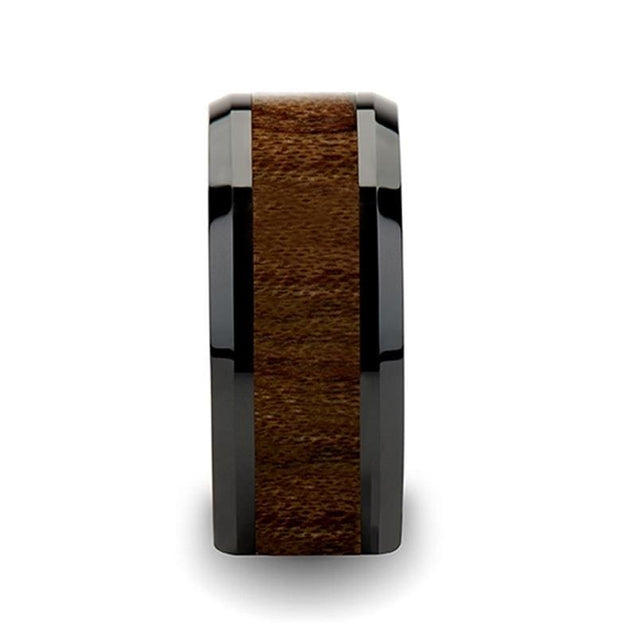 AUBREY Black Beveled Ceramic Wedding Band with Black Walnut Wood Inlay  4mm - 12mm
