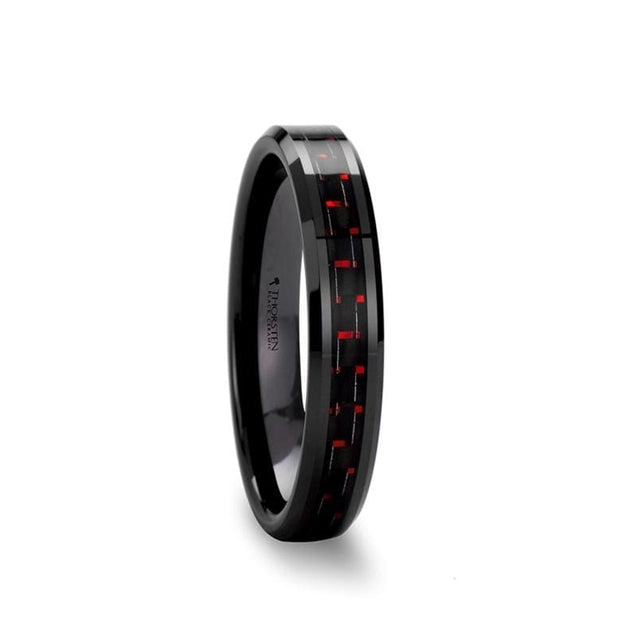 AVA Ladies Beveled Black Ceramic Ring with Black & Red Carbon Fiber Inlay - 4mm