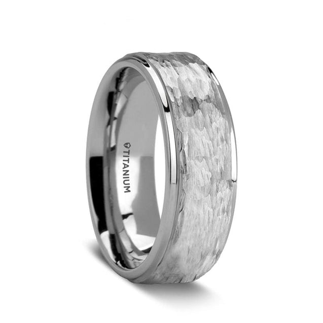 AXEL Hammered Finish Titanium Men's Wedding Ring with Polished Step Edges - 8mm
