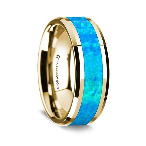 14K Yellow Gold Men's Wedding Ring W/ Blue Opal Inlay Beveled Edges - 8 mm