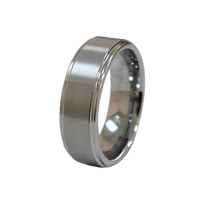 Baltsaros High Polished Tungsten Ring With Flat Brushed Center & Stepped Edges - 8mm