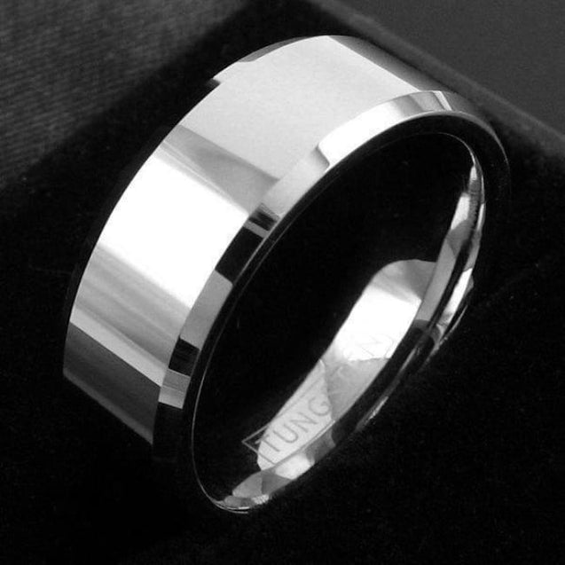 BARUCH Tungsten Wedding Band With High Polished Center and Beveled Edges - 8mm