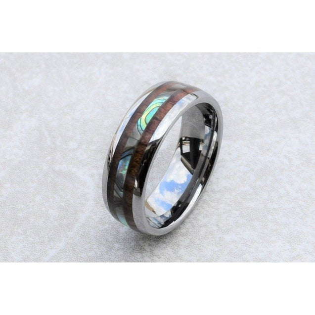 Bellamy Abalone Tungsten Wedding Band And Hawaiian Koa Wood Inlaid - 6mm & 8mm