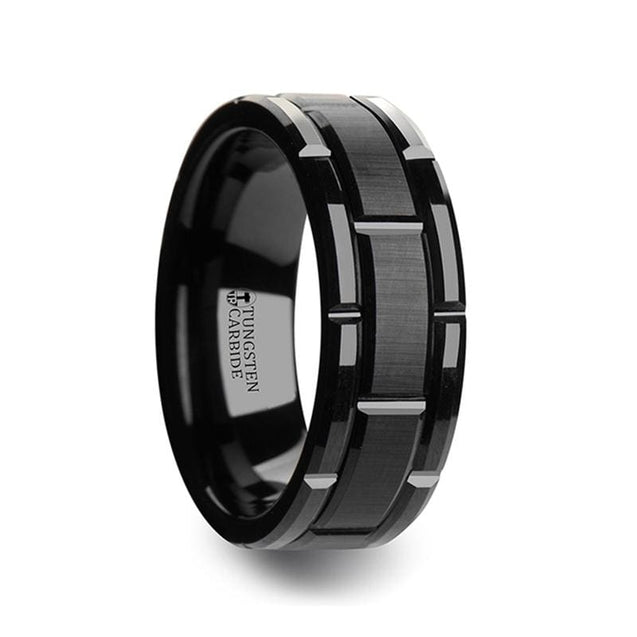 Beveled Black Tungsten Carbide Wedding Ring with Alternating Grooves - 8 mm & 10 mm