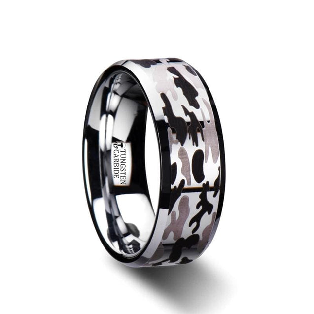 Beveled Carbide Tungsten Men's Ring W/ Laser Engraved Camo Pattern - 8 mm