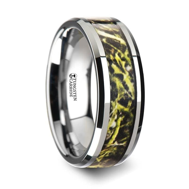 Beveled Edged Tungsten Carbide Mens Ring with Green Marsh Camo Inlay - 8mm