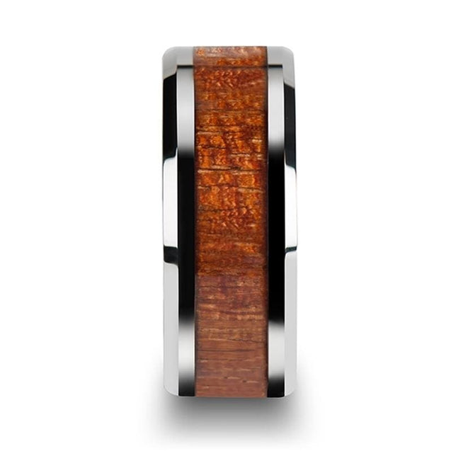 Beveled Edged Tungsten Wedding Band with Exotic Mahogany Hard Wood Inlay - 10mm