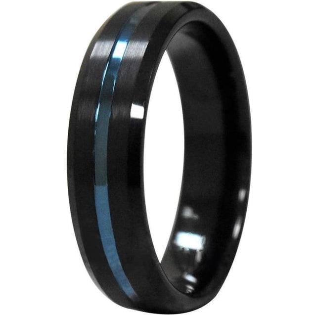 Beveled Edges Black Tungsten Carbide Ring With Ion Plated Blue Stripe - 6mm & 8mm