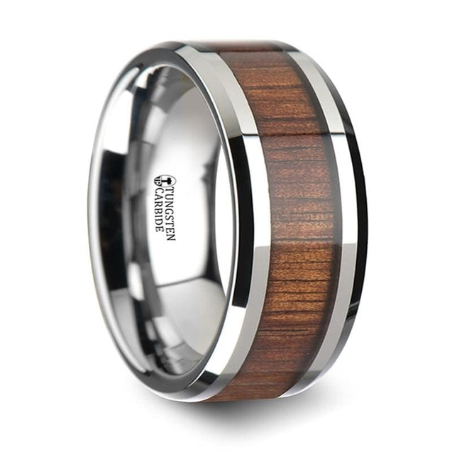 Beveled Men's Extra Wide Tungsten Wedding Band with Genuine Koa Wood Inlay - 10mm