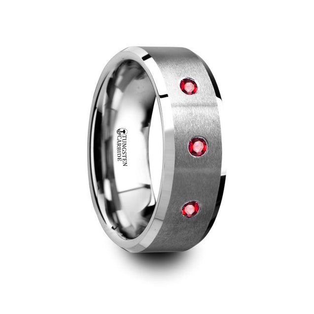 Beveled Men's Tungsten Carbide Wedding Ring With 3 Rubies Setting - 8mm