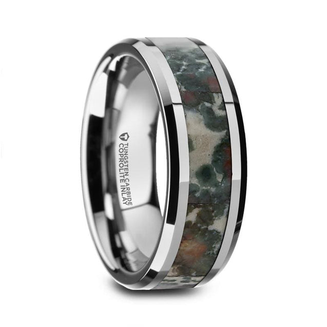 Beveled Men's Tungsten Wedding Ring Inlay with Coprolite Fossil Inlay - 8mm