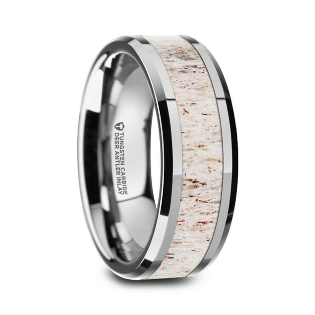 Beveled Tungsten Carbide Mens Wedding Band With Off White Deer Antler Inlay - 8Mm - Tungsten