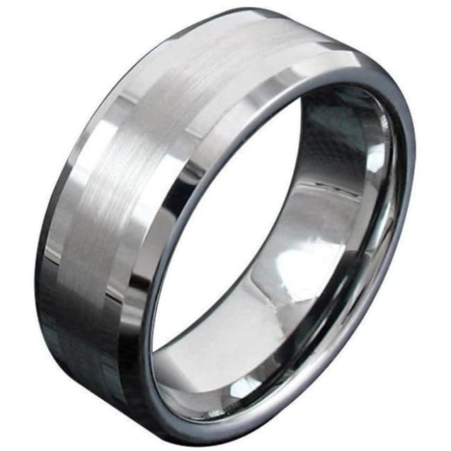 Beveled Tungsten Carbide Ring With Thin Brushed Center and High Polished Edges - 8mm