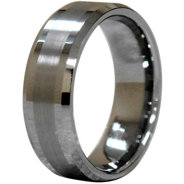 Beveled Tungsten Carbide Ring With Thin Brushed Center And High Polished Edges - 8Mm - Wedding Bands