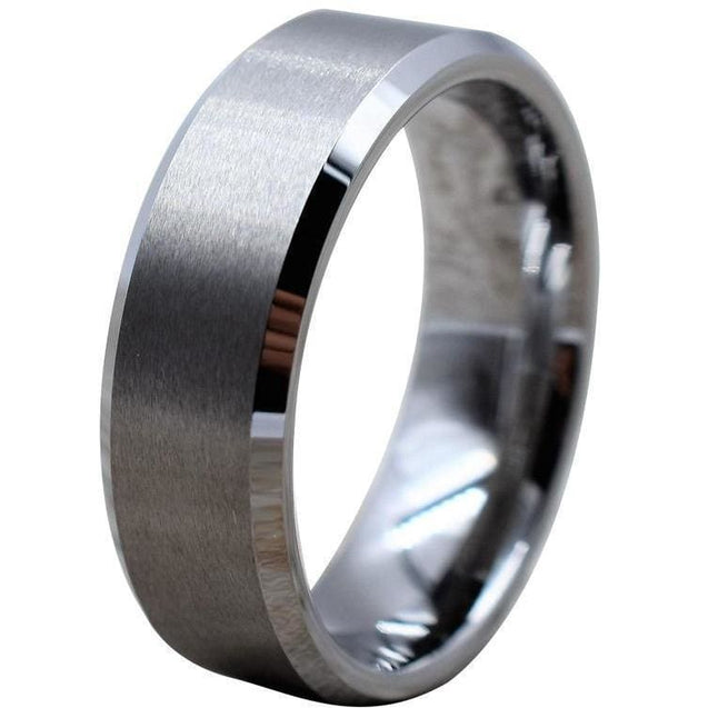 Beveled Tungsten Carbide Wedding Band High Polished and Brushed Center 6mm & 8mm