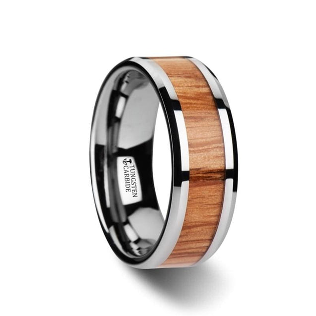Beveled Tungsten Carbide Wedding Band with Read Oak Inlay  6mm - 10mm