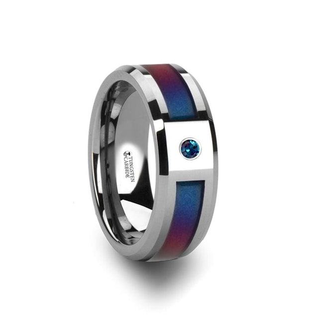 Beveled Tungsten Ring with Blue/Purple Color Changing Inlay & Alexandrite Setting 8mm