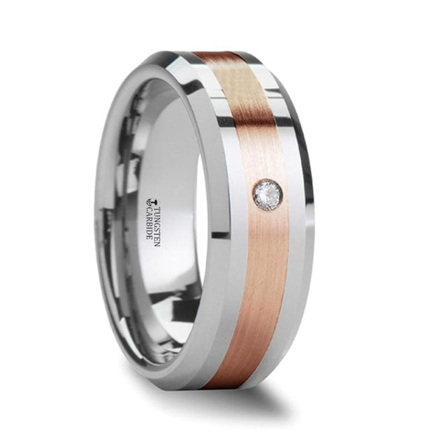 Beveled Tungsten Ring with Rose Gold Inlaiy & Diamond Setting Center- 6mm & 8mm