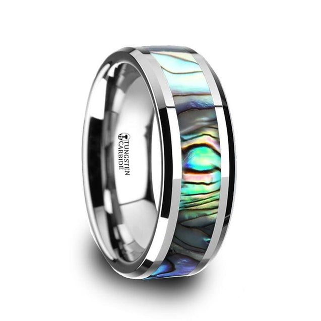 Beveled Tungsten Wedding Band Mother of Pearl Inlay For Men & Women 4mm - 10mm