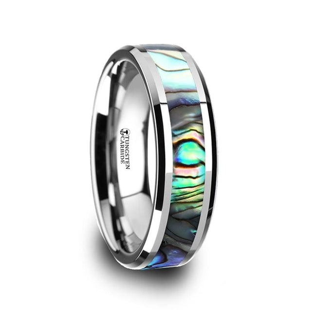 Beveled Tungsten Wedding Band Mother Of Pearl Inlay For Men & Women 4Mm - 10Mm - Tungsten