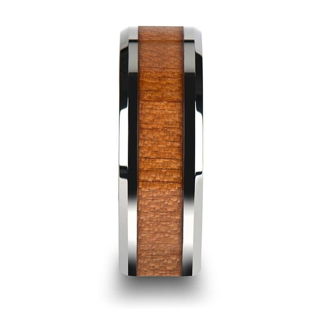 Beveled Tungsten Wedding Ring with Black Cherry Wood Inlay - 6mm - 10mm