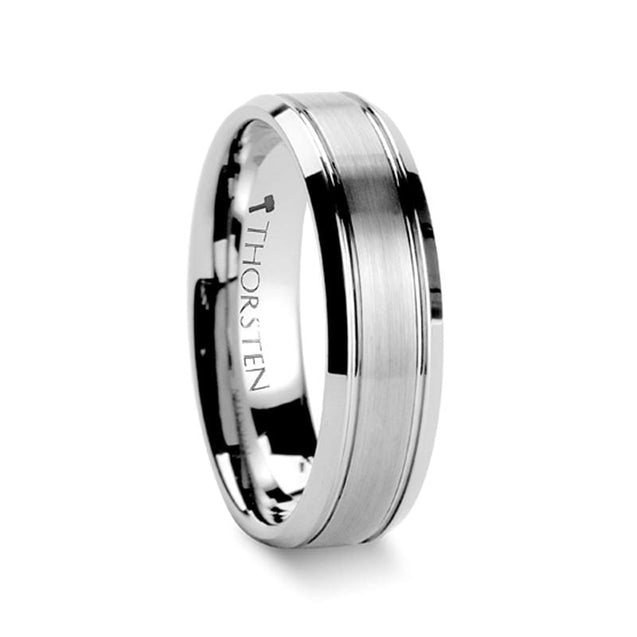 Beveled Tungsten Wedding Ring with Brushed Center & Double Grooved- 6 mm & 8 mm