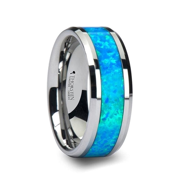 Beveled Unisex Tungsten Wedding Band with Blue Green Opal Inlay  4mm - 10mm