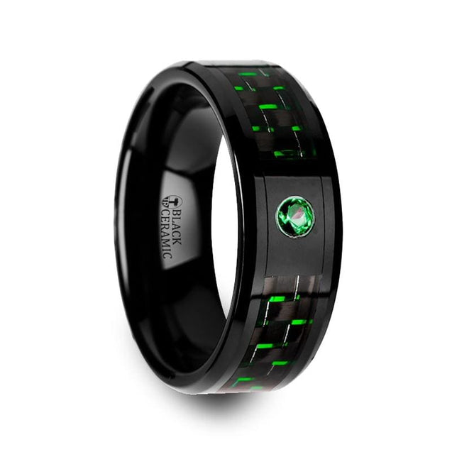 Black and Green Carbon Fiber Inlaid and Green Emerald Setting Black Ceramic Ring 8mm