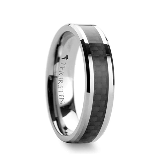 Black Carbon Fiber Inlaid Tungsten Carbide Wedding Ring Beveled Edges - 4Mm - 12Mm - Tungsten