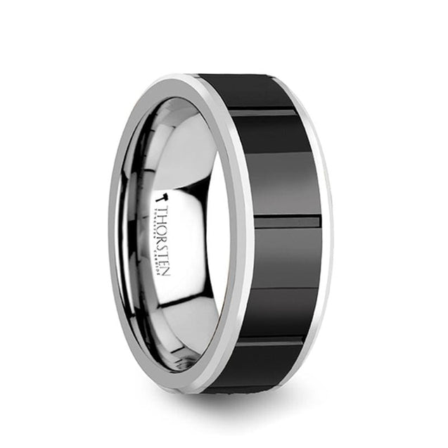 Black Ceramic Center with Horizontal Grooves Tungsten Carbide Ring - 8mm