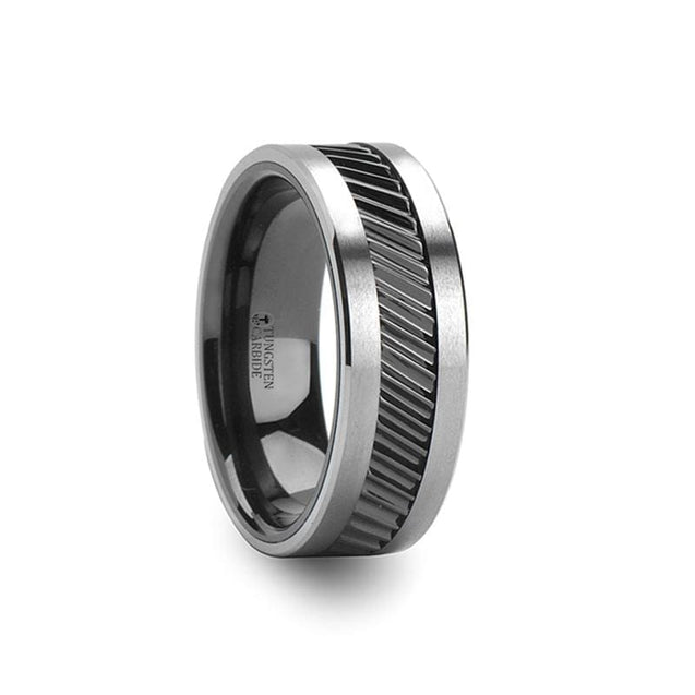 Black Ceramic & Tungsten Wedding Ring with Gear Teeth Pattern  6mm - 10mm