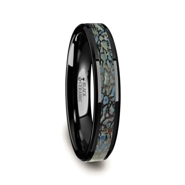 Black Ceramic Wedding Band with Blue Dinosaur Bone Inlay Beveled Edges 4mm & 8mm