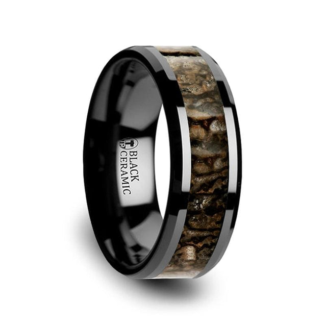 Black Ceramic Wedding Band with Dinosaur Bone Inlay Beveled Edges - 4mm & 8mm