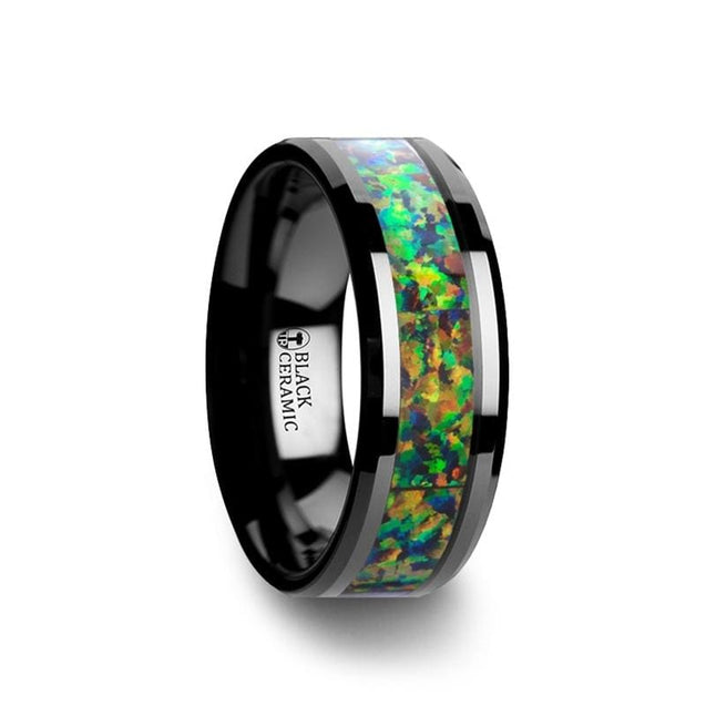 Black Ceramic Wedding Men's Ring Beveled Edges Blue & Orange Opal Inlay - 8mm