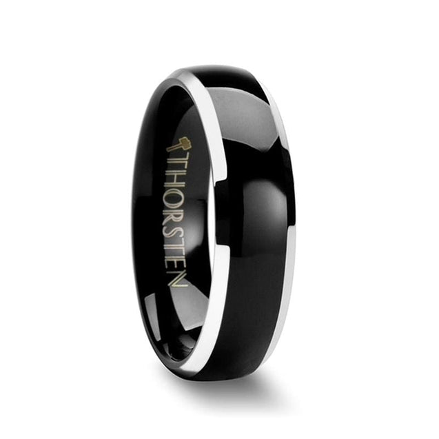 Black Domed Tungsten Wedding Band with Polished Beveled Edges - 4mm - 10mm