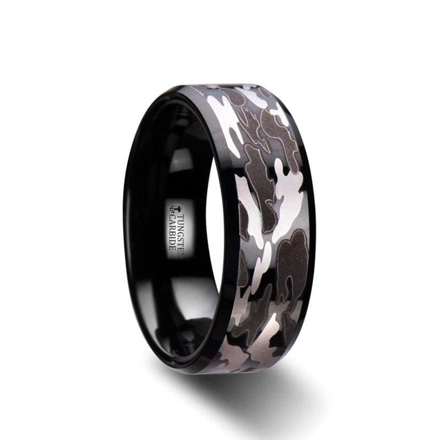 Black & Gray Camo Pattern Beveled Black Tungsten Carbide Men's Ring - 8 mm