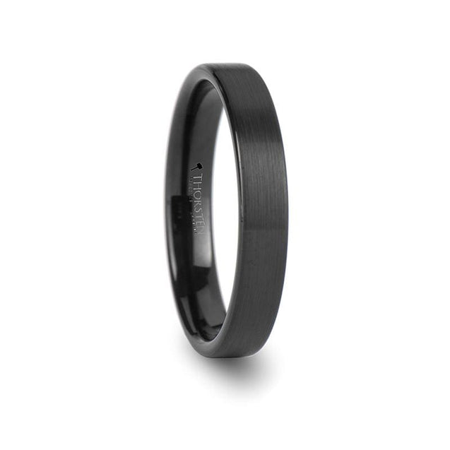 Black Pipe Cut Tungsten Carbide Ring with Brushed Finish - 4mm - 6mm