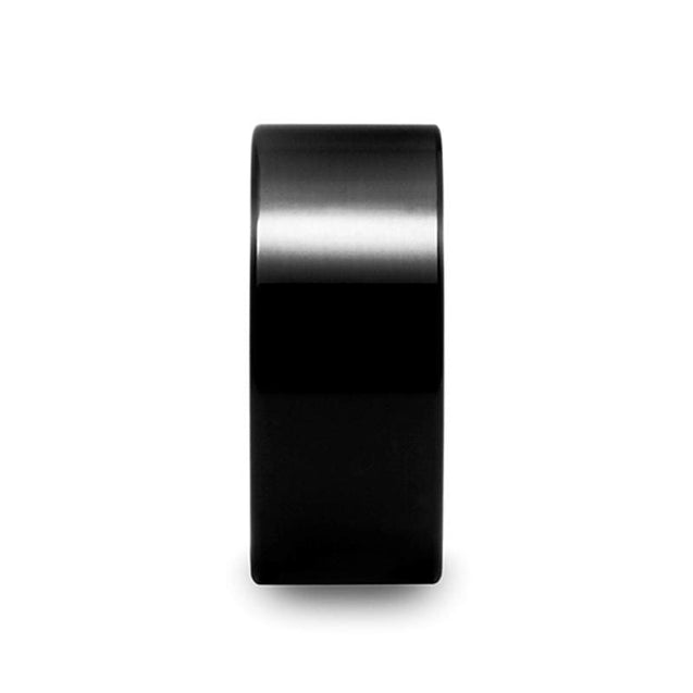 Black Polished Extra Wide Men's Tungsten Ring Pipe Cut - 10mm