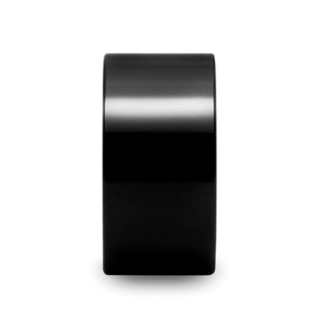 Black Tungsten Carbide Ring Pipe Cut Extra Wide With Polished Finish - 12Mm - Tungsten
