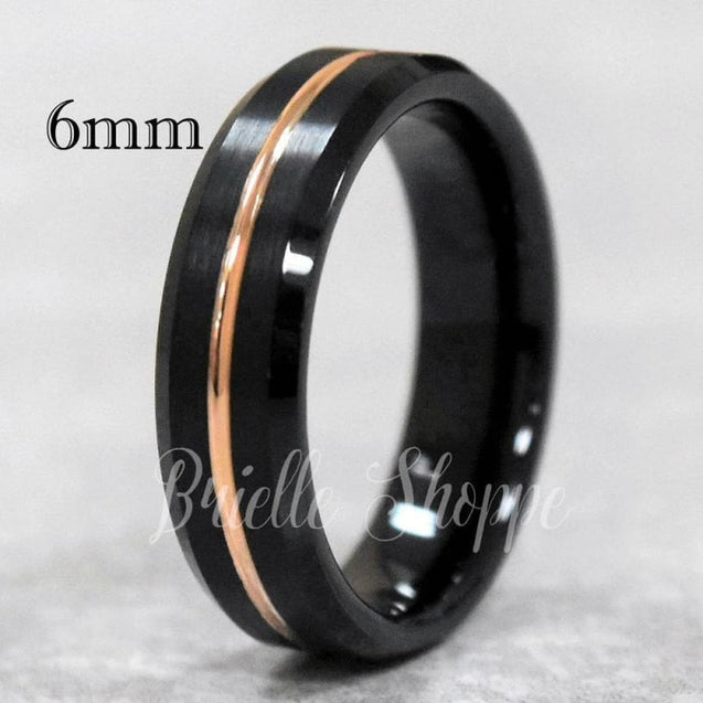 Black Tungsten Carbide Ring W/ Beveled Edges and Grooved Rose Gold Inlay  6mm & 8mm