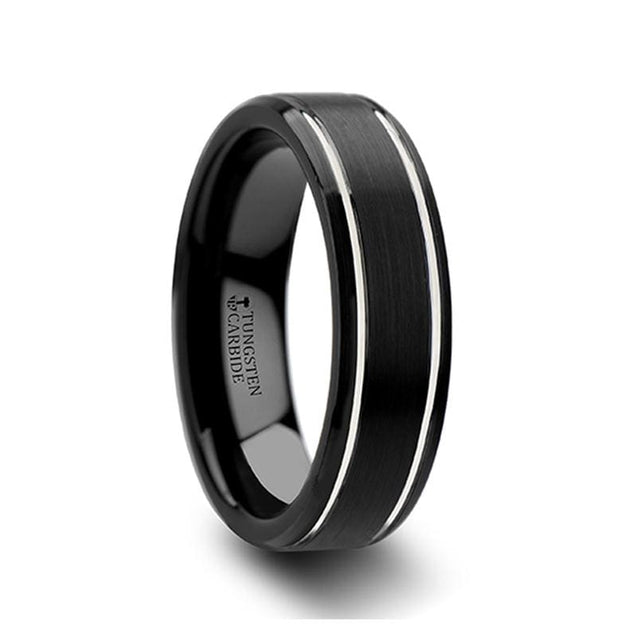 Black Tungsten Carbide Wedding Ring with Brushed Finish & Double Grooves 6mm & 8mm