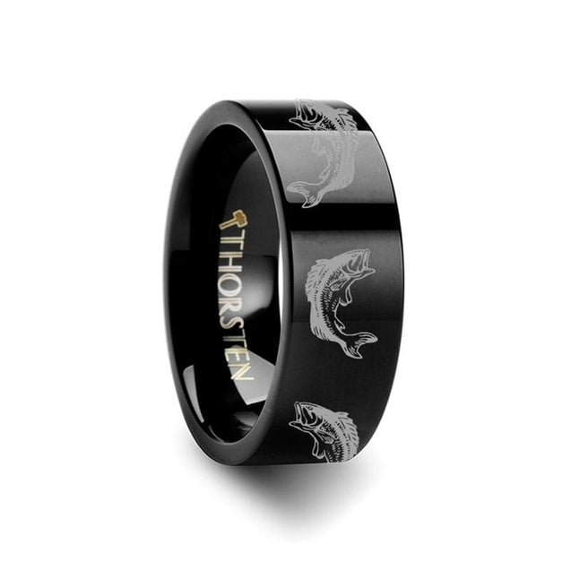 Black Tungsten Ring Pipe Cut with Bass Fish Jumping Sea Print Engraved  - 4mm - 12mm