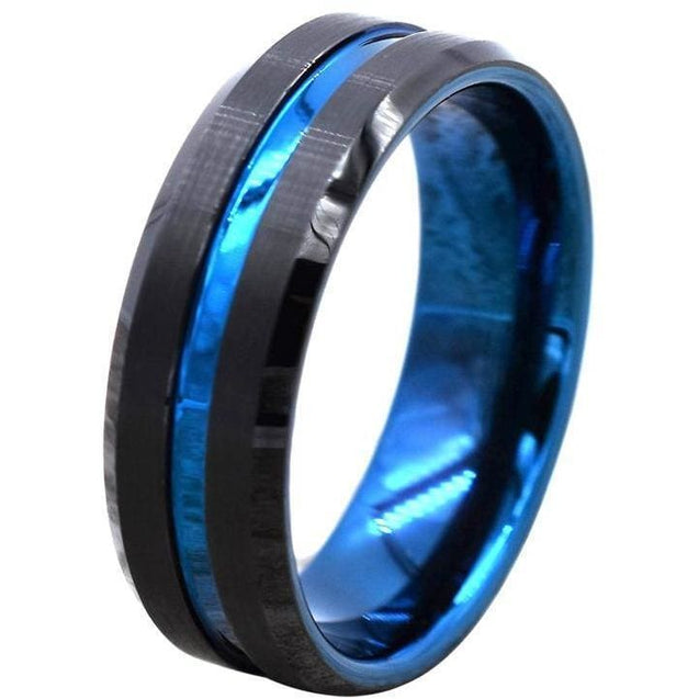 Black Tungsten Wedding Band Beveled Edges W/ Ion Plated Blue Stripe 6mm & 8mm