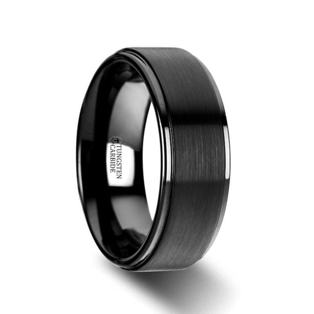 Black Tungsten Wedding Band Brushed Raised Center & Polished Edges - 6mm & 8mm